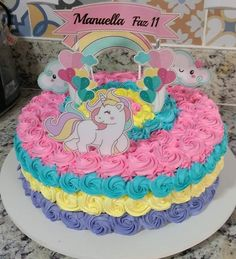 Torta arcoiris de Unicornio Trolls Birthday Party, Cool Birthday Cakes, Birthday Cake Girls, Unicorn Birthday Parties, Cake Icing, Buttercream Cake, Cupcake Cakes, Easy Unicorn Cake, Paw Patrol Birthday Girl