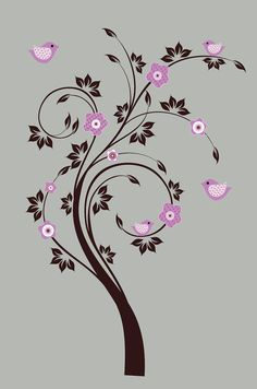 Kids swirl tree vinyl wall decal with birds by wallinspired, $85.00