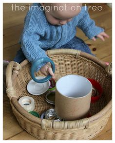 Baskets/ containers of similar shaped objects are a great way for babies to explore the properties of items - can they go on me? can they go in each other? can I build them ... the opportunities are endless!