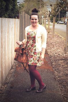 Love the floral dress and pretty cream cardigan.