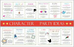 Creative ideas for 12 Character Birthday Parties