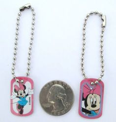 Disney-Minni-Mouse-Pink-Miniature-Dogtag-Charm-Key-chain-Backpack-Party-Favor