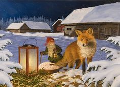 Swedish artist, Jan Bergerlind Tomte Gnome & Fox Christmas Cards Box of 12 #JB527