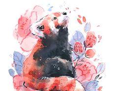 Red Panda - by Leigh Ellexson Panda Sketch, Panda Drawing, Tatto Panda, Cute Animal Drawings, Cute Drawings, Red Panda Cute, Panda Illustration, Panda Art, Watercolor Red