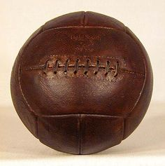1930's Leather Laced Soccer Ball. This fine vintage soccer ball was made by the GoldSmith Sporting Goods Company.