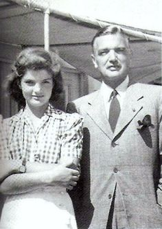 Jackie, 13 years old in this picture, and her father 'Black Jack' Bouvier. It's been said that he and John Kennedy were similar in ways.