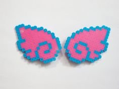 2pc Angel Wings Hair Clips Hot Pink and Blue Kawaii Perler Beads by Rainbow Moon Shop on Etsy
