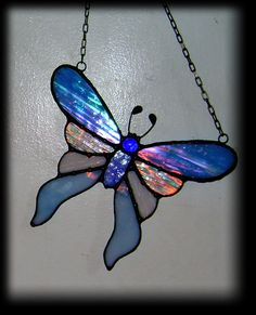 Moody Blue Tiffany Technique Stained Glass by WhiteBearStudiosUS, $38.00