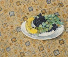 Hans Berger - Banane et raisins - Huile sur toile, x 46 cm. Raisin, Food, Oil On Canvas, Banana, Eten, Meals, Diet