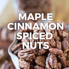 Maple Cinnamon Spiced Nuts are perfect for holiday gift giving and year-round snacking! Recipe on Cinnamon Nuts Recipe, Cinnamon Pecans, Cinnamon Recipes, Nut Recipes, Cinnamon Spice, Almond Recipes, Candy Recipes, Holiday Recipes, Snack Recipes