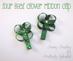 Ribbon Four-Leaf Clover Hair Clip | Positively Splendid {Crafts, Sewing, Recipes and Home Decor}