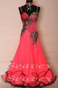 Ballroom Everday Watlz Tango Standard Dance Dress US 8 UK 10 Pink Black Color