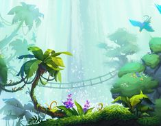 Magical Island of Taonga on Behance Jungle Illustration, Landscape Illustration, Landscape Art, Tropical Games, Magic Island, Isometric Art, Paint Background, Game Background, Environment Concept Art