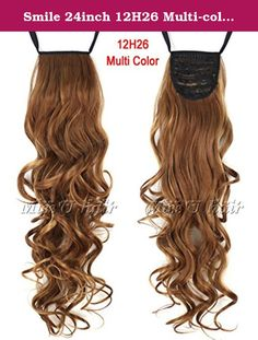 Smile 24inch 12H26 Multi-color Long Curly Ribbon Drawstring Ponytail Clip In Hair extensions hairpiece. 24inch 12H26 Multi-color Long Curly Ribbon Drawstring Ponytail Clip In Hair extensions hairpiece.