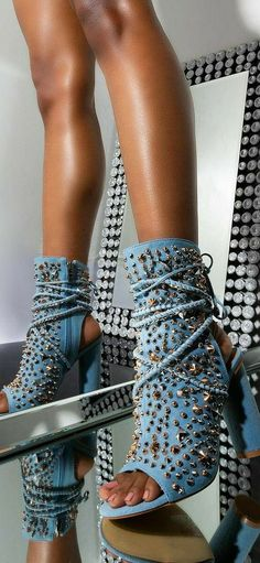 Heeled Boots, Shoe Boots, Shoes Heels, Denim Heels, Spike Shoes, Studded Denim, Hype Shoes, Thigh High Boots, Chunky Heels