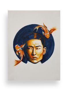 Watercolour, Koi, Painting, Ilustration