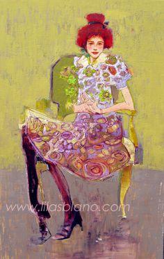 Violine Sur Une Chaise Acidulée Mimosa. 75 x 120 cm. Huile/Toile.