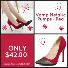 You'll need a pair of stylish red shoes to look hot!  Wear this Vamp Metallic Pumps in red and consider the job done. #YouCanNeverHaveTooMany Order now: http://ift.tt/2aN4gfM  #Accessoryhut #casualwear #playsuits #partywear #prettydress #fashiondiaries #nikeshoes #fashionaddict #danceshoes #iloveshoes #fashionstyle #womensfashion #fashionweek #fashionphotography #fashionmodel #igfashion #fashionjewelry