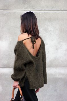 Low back sweater.
