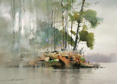 John Lovett, Landscape painting featuring soft, wet in wet watercolor edges Watercolor Water, Watercolor Landscape Paintings, Watercolor Trees, Watercolor Sketch, Watercolor Artists, Watercolor Portraits, Abstract Watercolor, Watercolor Illustration, Landscape Art