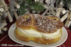 Millis tårtor och annat: Suuuuupergoda LUSSESEMLOR med vitchoklad, mandelmassa och grädde
