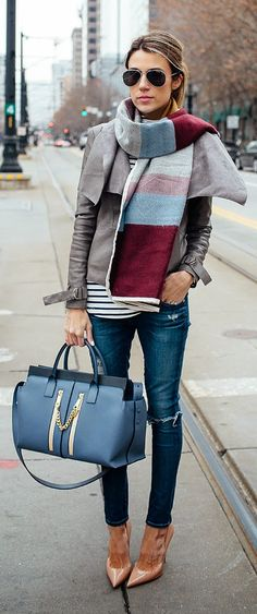 Hello Fashion - Multi Color Blanket Scarf with Grey Jacket and Stripe Turtleneck And Nude Patent Heels.