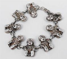 Vtg Carol Felley Sterling Storyteller Mother 8 Plaque Bracelet Southwestern