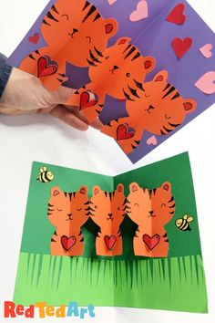How to make Tiger Pop Up Cards for Valentine's Day or Birthdays! A super cute Paper Chain Tiger card that kids will love to make and receive! Construction For Kids, Construction Paper Crafts, Homemade Valentine Cards, Valentine Crafts, Paper Crafts For Kids, Easy Crafts For Kids, Valentine's Cards For Kids, Animal Crafts For Kids, Valentines For Boys