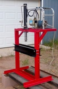 Electric Hydraulic Press Homemade Electric Hydraulic Press Fabricated From Steel Channel And Angle Iron Equipped Wi Welding Projects Projects Metal Workshop