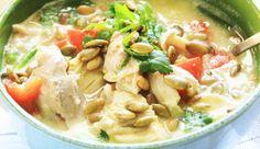 Thai Pumpkin Soup with chicken, lemongrass, ginger, lime juice, garlic.