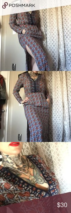 Indie long maxi printed Aztec pocket dress Never used. Beautiful casual dress. Size small. Should fit up to a size 7. hagel Dresses Maxi
