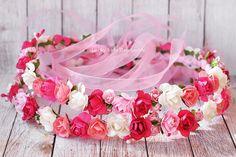 Floral crown hair wreath Cotton candy flower by LuckyKidsHandmade