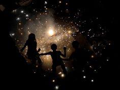 Indian children light fireworks in New Delhi for Diwali