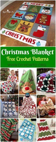 Crochet Christmas Blanket Free Patterns & Tutorials: Crochet Holiday Blanket, Retro Ornament, Pepper Mint, Reindeer, Star, Ripple Blanket via @diyhowto
