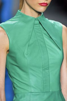 Structured Fashion - line, angle & fold - green leather dress; close up fashion detail // Reem Acra, pleated collar