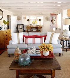 Rooms to Love: Rustic Coastal Cottage: couch with red and white pillows