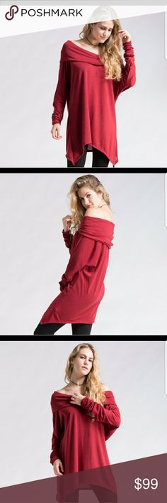 🎉HP New Oversized off shoulder top Get ready for fall with this perfect Off Shoulder Brushed Knit Oversized Top. Available in s/m and m/l.   87% Polyester 9% Rayon 4% Spandex.  Also available in mocha.  See other listing. Tops Tunics