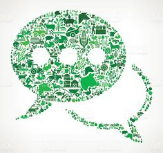 Speech Bubbles Farming and Agriculture Green Icon Pattern illustrazione royalty-free