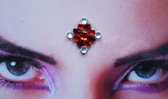 Frozen cherry #bindi #red #winter #tribal #fusion #bellydance #hindu #woman #jewelry #accessory #face #decoration #rhinestone #handmade #shiny #fashion #third #eye #etsy #Feeora #fatale   By FeeoraFatale, €8.00