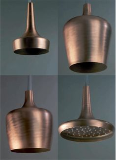 Coppery bronze Shower heads that remind me of genie bottles! So Fabulous! #Spa Style #exotic