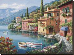 オールポスターズの ソン・キム「Villagio Dal Lago」キャンバスプリント