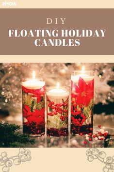 Candlelight definitely sets the mood for the holidays, and these candles floating on a bed of submerged wintery flowers and shrubs take it to the next level. They make a lovely centerpiece when displayed as a set, or you can scatter them around the room to spread the joy.