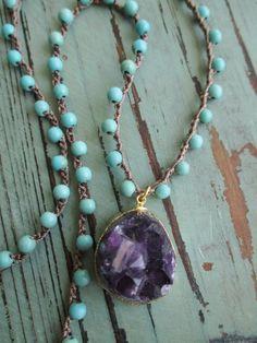 Amethyst crochet necklace Purple Haze semi by slashKnots
