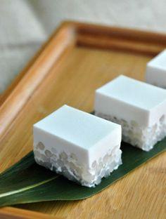 japanese sweets, sago coconut milk cake.