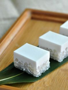 japanese sweets, sago coconut milk cake.