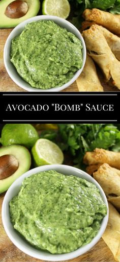 """Healthy Meals avocado-bomb-sauce More: - The """"Bomb"""" Sauce as Aaron calls it, is an avocado sauce you can use for almost anything! The avocado """"Bomb"""" Sauce is a must have recipe. Mexican Food Recipes, Vegan Recipes, Cooking Recipes, Ethnic Recipes, Cooking Tips, Bomb Sauce, Healthy Meals, Healthy Eating, Healthy Food"""