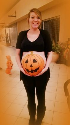Pumpkin painting belly pictures for pregnant women