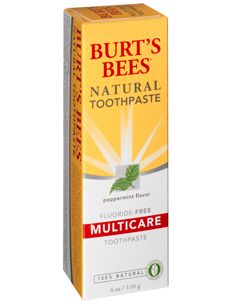 Burt's Bees - Natural Toothpaste. Fluoride Free! Fluoride used to be used as an insecticide and rat poison, and does more harm than good on your teeth! Nature's Gate, and Tom's of Maine are also brands that offer fluoride free toothpaste.