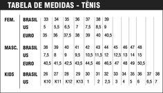 Conversão de tamanho e numeração de tênis e sapato EUA x Brasil     Saiba a numeração de tênis e sapatos nos Estados Unidosque equivale a...