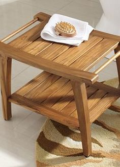 A perfect perch beside your shower or a place to hold your towels or other bath essentials, the Teak Shower Bench is as handsome as it is functional.